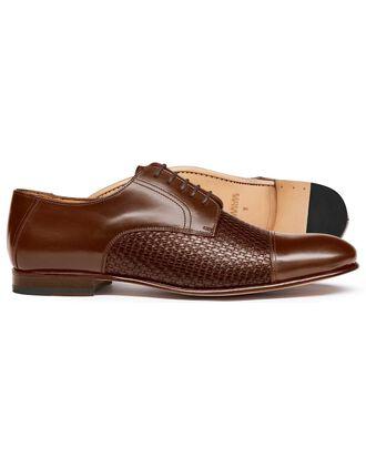 Tan woven Derby shoe