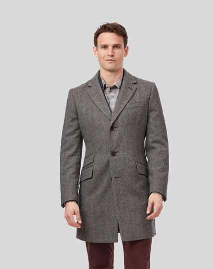 Herringbone British Wool Cotton Epsom Coat - Brown