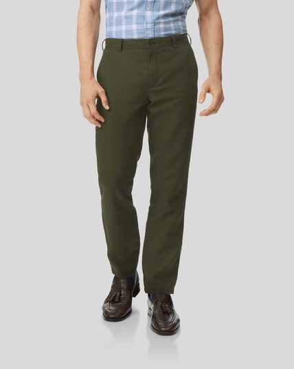 Easy Care Linen Trousers - Dark Green