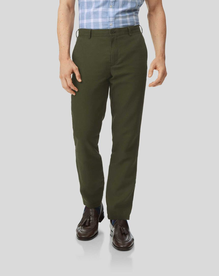 Easy Care Linen Trousers - Dark Green