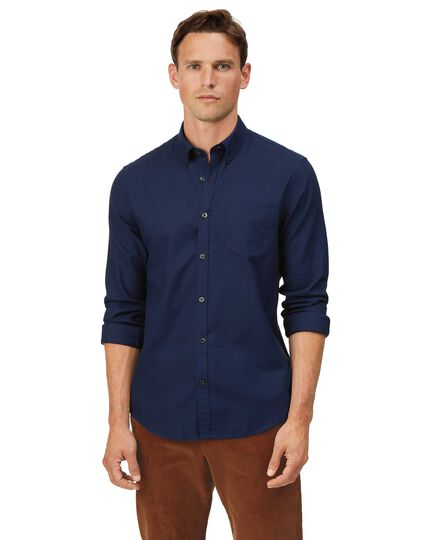 Extra slim fit dark blue soft wash non-iron twill plain shirt