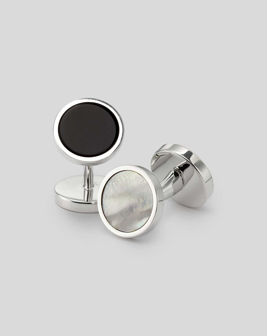 Mother of Pearl and Onyx Evening Cufflink - Silver