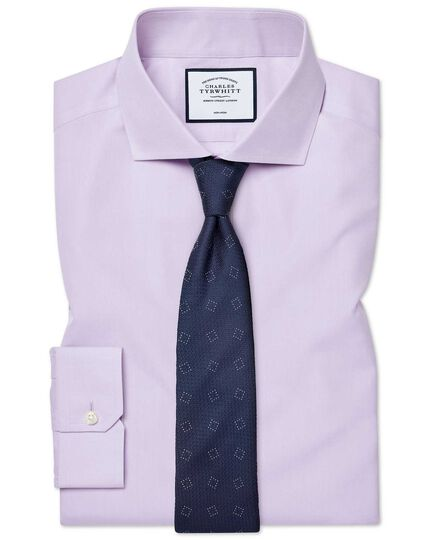 Super slim fit cutaway collar non-iron poplin lilac shirt