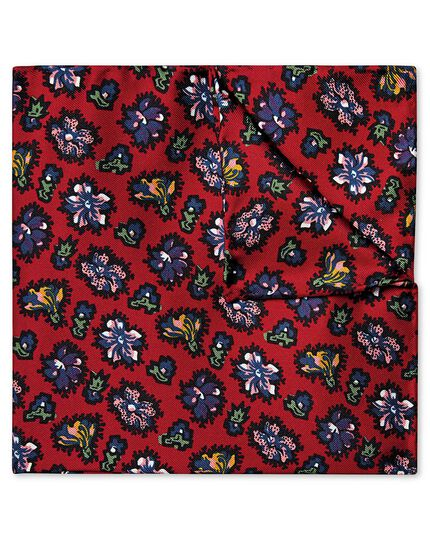 Red abstract floral print pocket square