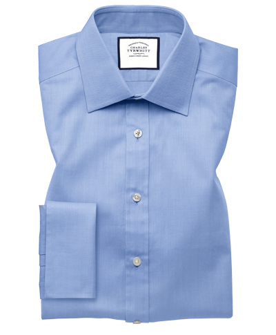 Classic Fit Hemd mit feinem Fischgrätmuster in Himmelblau