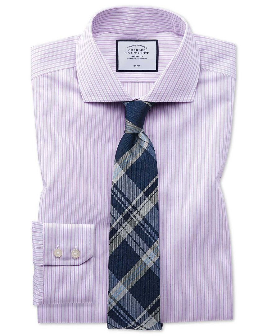 Extra slim fit non-iron shadow stripe purple shirt