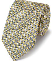 Light yellow classic seahorse print tie