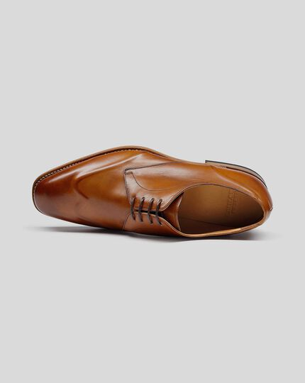 Goodyear Welted Plain Wing Tip Derby Shoe - Tan