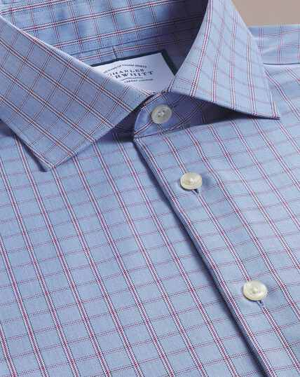 Slim fit business casual non-iron blue windowpane check shirt