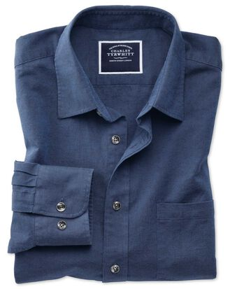 Classic fit navy cotton linen shirt