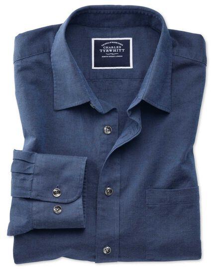 Chemise bleu marine unie en coton et lin coupe droite