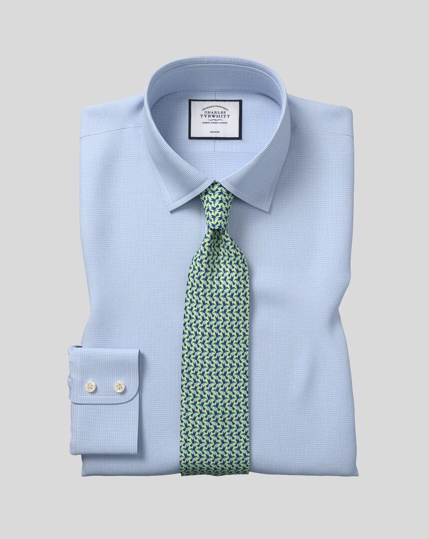 Bügelfreies Hemd mit Kent Kragen und Hahnentrittmuster  - Himmelblau