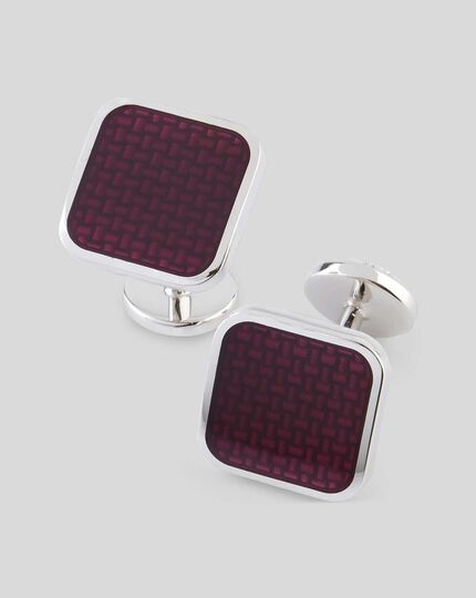 Enamel Square Cufflinks - Burgundy