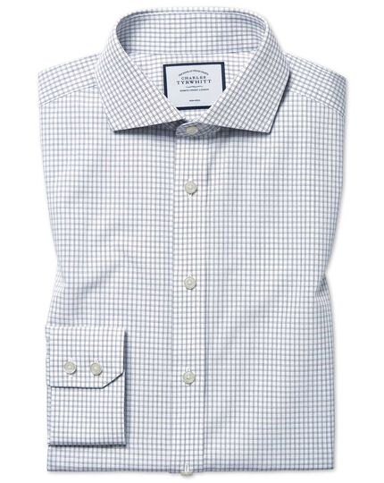 Extra slim fit non-iron 4-way stretch navy check shirt