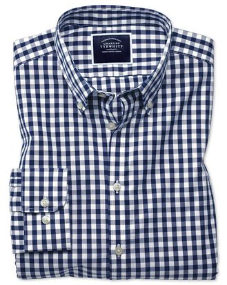 Extra slim fit non-iron navy gingham poplin shirt