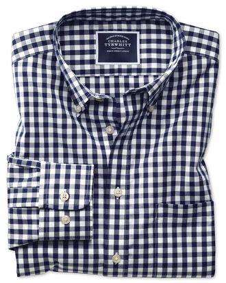 Bügelfreies Slim Fit Hemd aus Popeline in Marineblau mit Gingham-Karos
