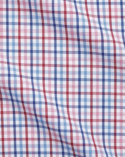 Slim fit poplin multi red check shirt
