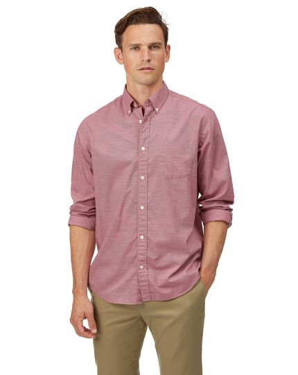 Classic fit red soft washed stretch poplin plain shirt