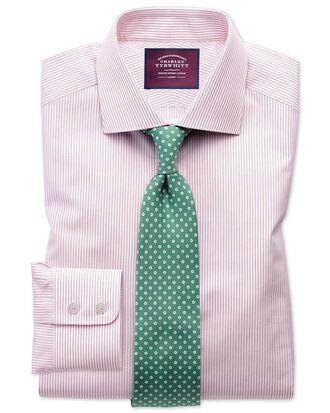 Slim fit semi-spread collar luxury poplin red and white shirt