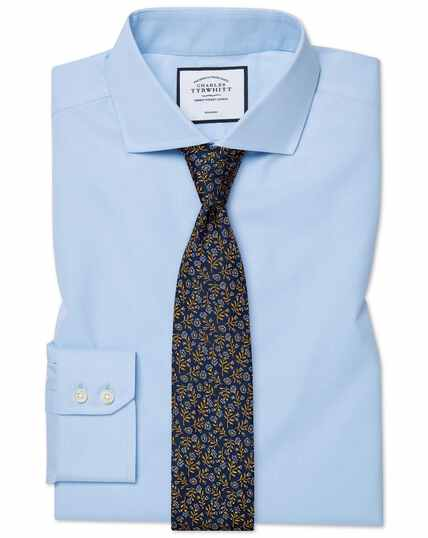 Classic fit sky blue non-iron twill spread collar shirt