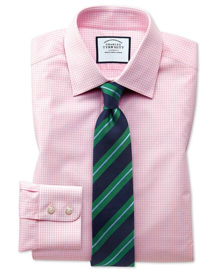 Classic fit light pink small gingham shirt