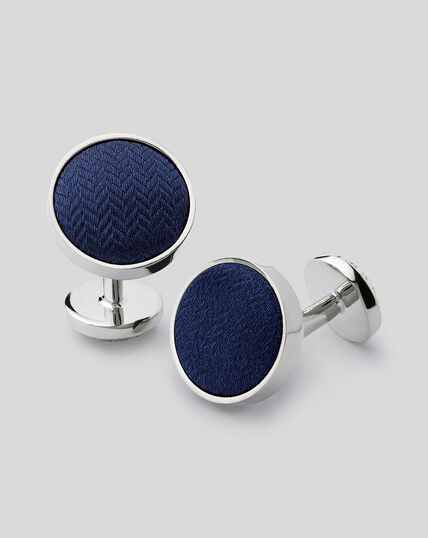 Herringbone Silk Insert Cufflinks - Navy