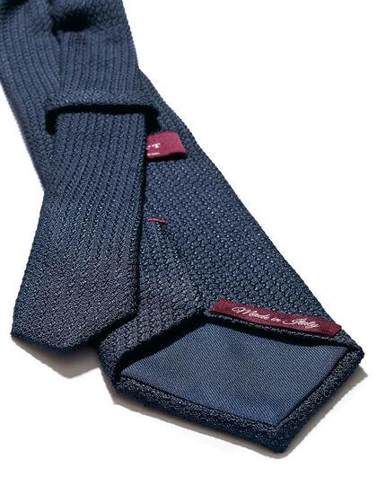 Cravate de luxe italienne bleu marine en grenadine de soie