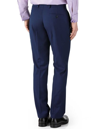 Royal blue slim fit twill business suit trousers