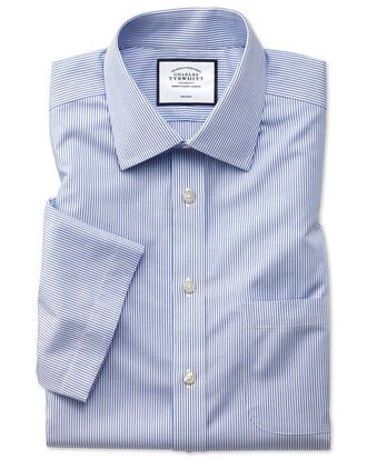 Classic fit non-iron natural cool short sleeve blue stripe shirt