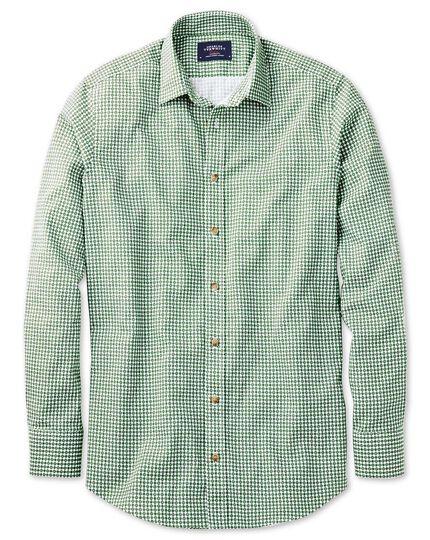 Slim fit green geometric print shirt