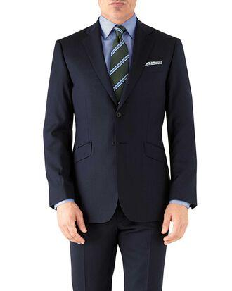 Classic Fit italienisches Anzug Sakko in Marineblau mit Fischgrätmuster