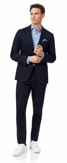 Slim Fit Anzug aus italienischer Baumwolle in Marineblau