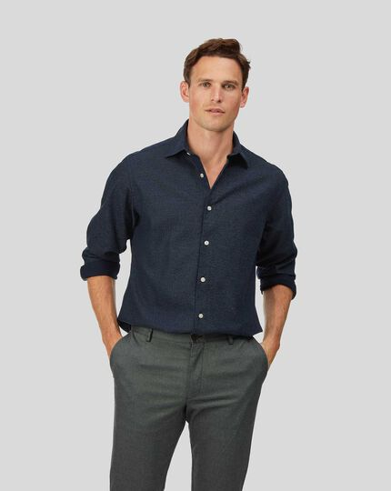 Honeycomb Soft Washed Shirt - Navy