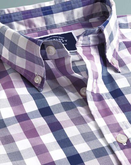 Chemise Tyrwhitt Cool violette slim fit à carreaux multicolores à délavage doux sans repassage