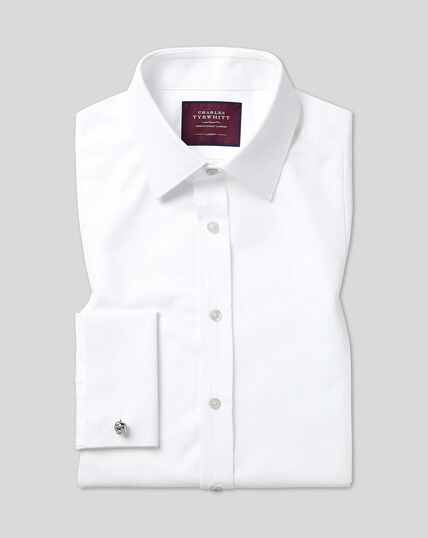 Gala-Hemd mit Kent Kragen und Bieseneinsatz aus Marcella-Waffelmuster  - Weiß