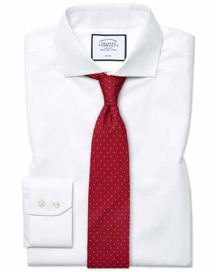 Extra slim fit white non-iron poplin spread collar shirt