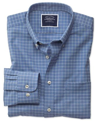 Slim fit non-iron sky blue grid check twill shirt