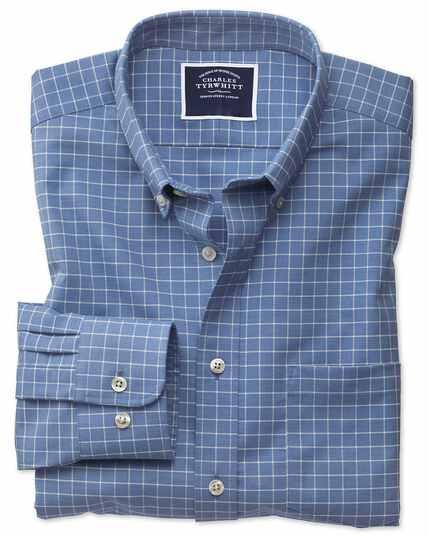 Chemise bleu ciel en twill à carreaux simples slim fit sans repassage