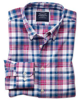 Slim Fit Popeline-Hemd in Rosa und Marineblau