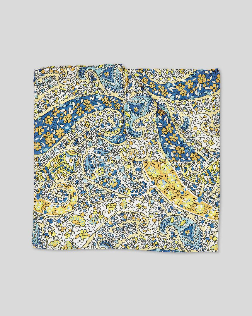 Paisley Print Pocket Square - Sky & Yellow