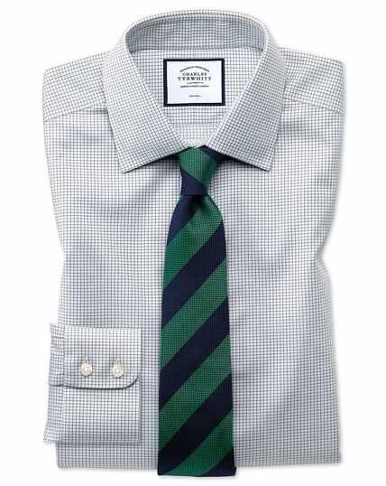 Chemise en twill à petits carreaux simples sans repassage - Gris
