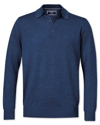 Pull bleu en laine mérinos avec col polo