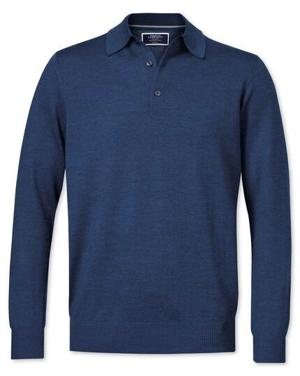 Mid blue merino wool polo neck sweater