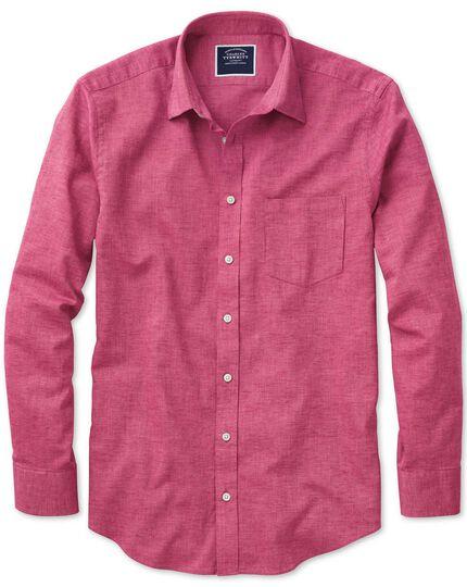 Classic Fit Hemd aus Baumwoll-Leinen in kräftigem Rosa