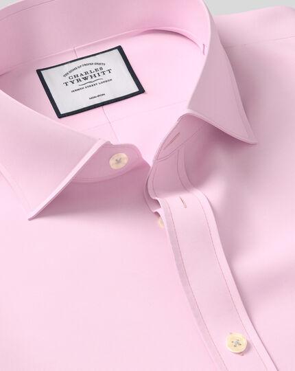 Bügelfreies Twill Hemd mit Haifischkragen - Rosa