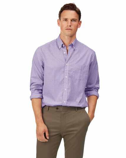 Chemise en popeline stretch soft washed lilas à carreaux vichy coupe droite sans repassage