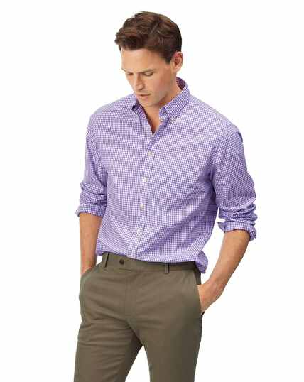 Chemise en popeline stretch soft washed lilas à carreaux vichy slim fit sans repassage