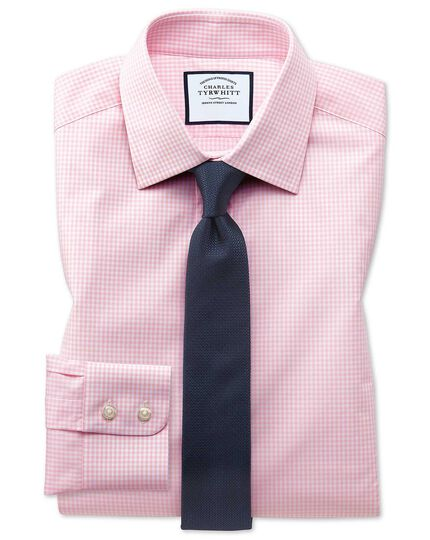 Extra slim fit small gingham light pink shirt