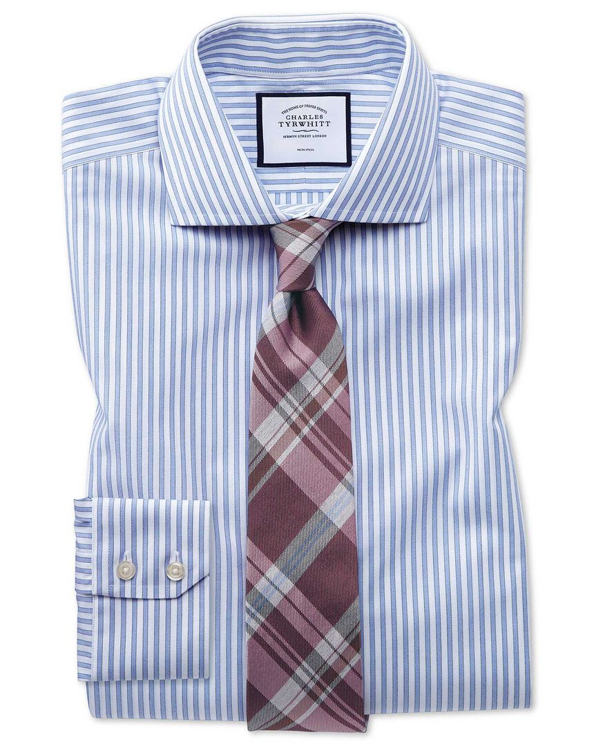 Extra slim fit non-iron shadow stripe sky blue shirt