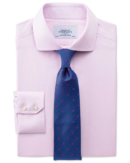 Extra slim fit spread collar non-iron mouline stripe pink shirt